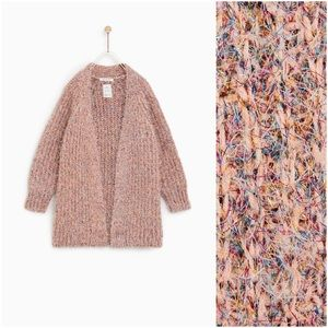 Zara pink metallic fluffy open cardigan sweater
